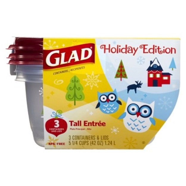 Glad Holiday Edition Tall Entrée Food Storage Containers with Lids 3