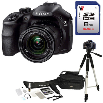 Sony Black 20.1MP Alpha a3000 Interchangeable Lens Camera, Includes 18-55mm Lens with Memory Card and DSLR Accesory Kit Value Bundle