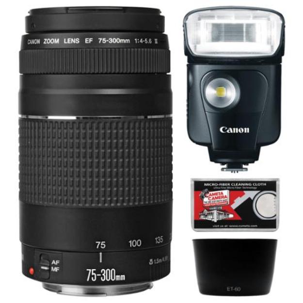 Canon EF 75-300mm f/4-5.6 III Zoom Lens with Canon Speedlite 320EX LED Flash + Hood