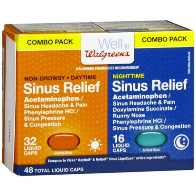Walgreens Daytime & Nighttime Sinus Relief Liquid Caps, 48 ea