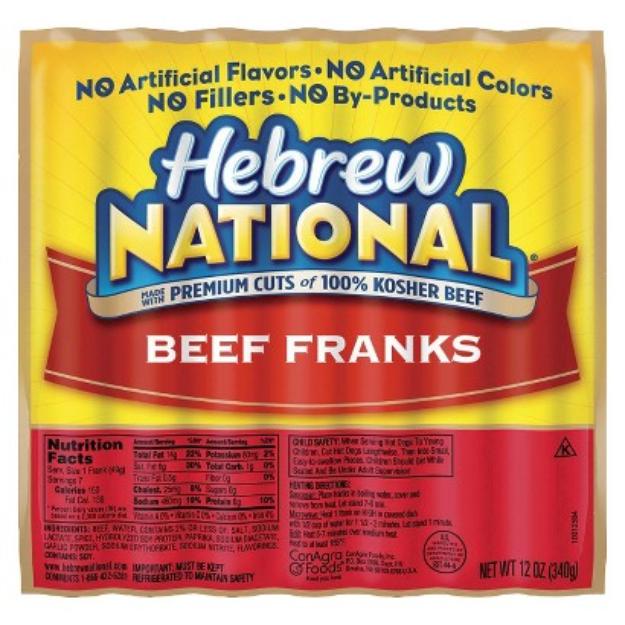 Hebrew National Beef Franks 12 oz