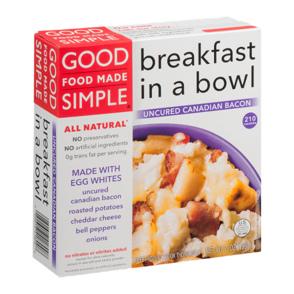 Good Food Made Simple Breakfast in a Bowl Uncured Canadian Bacon