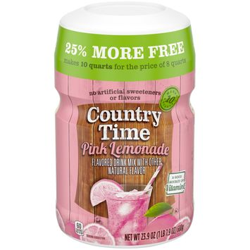 Country Time Pink Lemonade Drink Mix, Caffeine Free, 23.9 oz Resealable Can