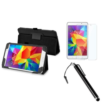 Insten INSTEN Black Leather Stand Case+Screen Protector+Stylus w/3.5mm Plug Cap For Samsung Galaxy Tab 4 7.0 7 SM-T230 Tablet