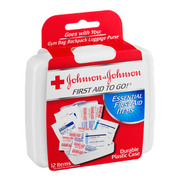 Johnson & Johnson First Aid To Go! Essential First Aid Items - 12 CT