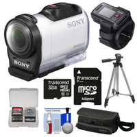 Sony Action Cam HDR-AZ1 Mini HD Video Camera Camcorder & Live View Remote with 32GB Card + Case + Tripod + Kit