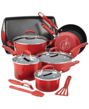 Rachael Ray Hard Enamel Nonstick 14-Piece Cookware Set, Red