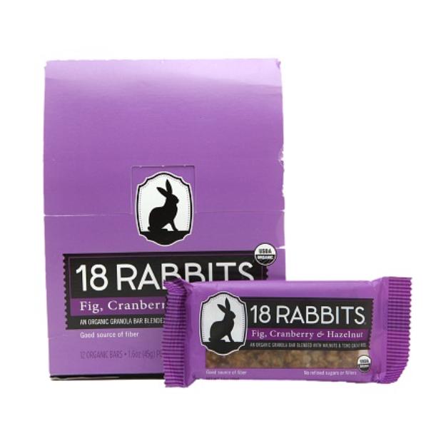 18 Rabbits Organic Granola Bar, Fig, Cranberry & Hazelnut, 12 ea