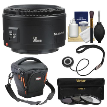 Canon EF 50mm f/1.8 II Lens with Case + 3 UV/CPL/ND8 Filters + Kit for EOS 6D, 70D, 5D Mark II III, Rebel T3, T3i, T4i, T5, T5i, SL1 DSLR Cameras
