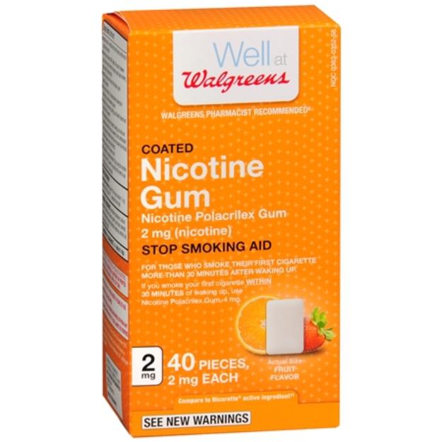 Walgreens Nicotine Replacement Gum 2Mg, Fruit, 40 ea