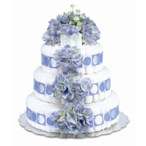 Bloomers Baby Diaper Cake Classic Blue Hydrangea 3-Tier
