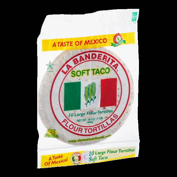 La Banderita Soft Taco Large Flour Tortillas - 10 CT