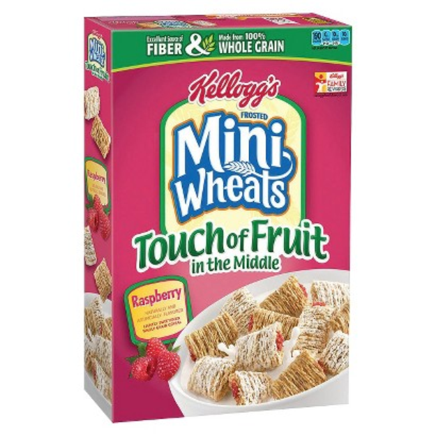 Kellogg's Frosted Mini-Wheats Raspberry with a Touch of Fruit in the
