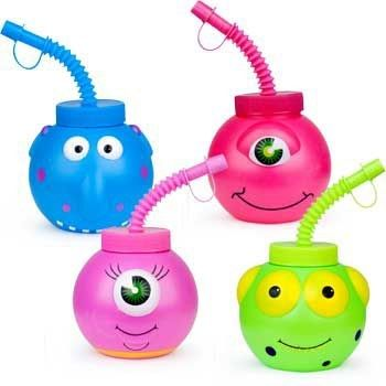 Fun Express Monster Cups with Straws (1 dz)