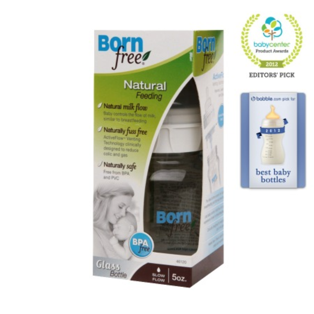 BornFree Glass Bottle 5oz/Slow Flow