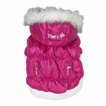 Pet Life Metallic Ski Parka, Small, Metallic Pink, 1 ea
