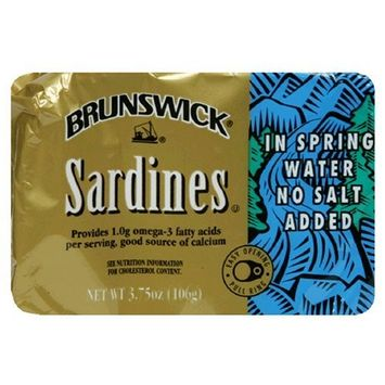 Brunswick Sardines In Spring Water, 3.75 Ounce Tins (Pack of 25)