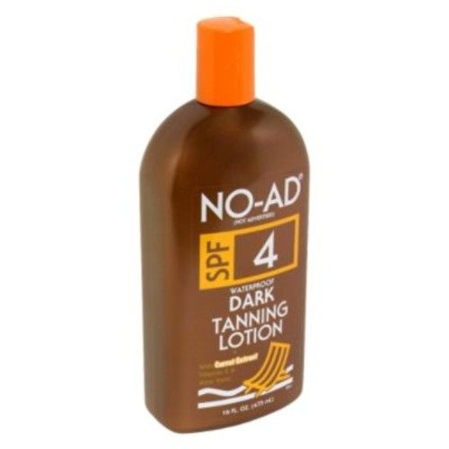 No Ad Dark Tanning Lotion, SPF 4, Waterproof, 16 fl oz (475 ml)