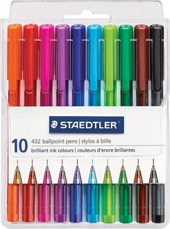 Staedtler Ballpoint Pens, Medium Point, Assorted Colors. 10/Pack