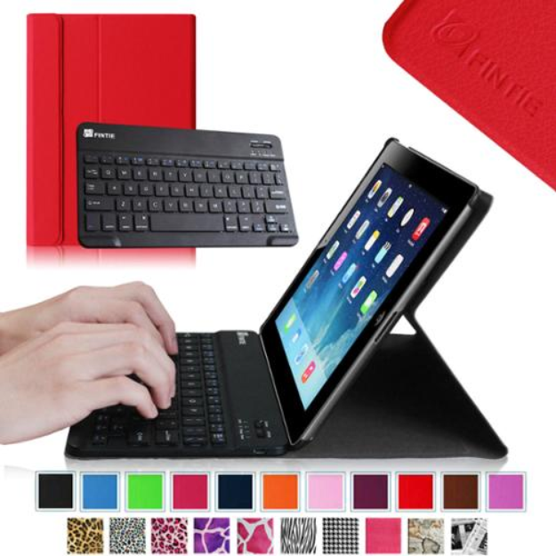 Fintie Wireless Bluetooth Keyboard Case for Apple iPad 4th Generation with Retina Display, iPad 3 & iPad 2, Red