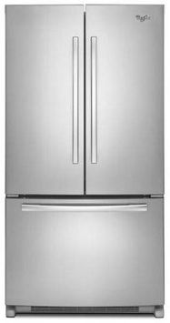 Monochromatic Stainless Steel Whirlpool(R) 20 cu. ft. French Door Refrigerator with Counter Depth Styling