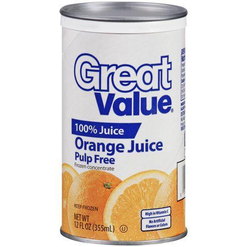 Great Value Pulp Free 100% Orange Juice, 12 fl oz
