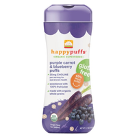 Happy Puffs Organic Puffs Finger Food for Babies Purple Carrot and Blueberry