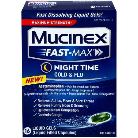Mucinex Fast-Max Max Strength, Night Time Cold & Flu Liquid Gels, 16ct