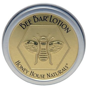 Honey House Vanilla Scented Bee Bar Natural Solid Lotion Bar 0.6 oz - New in Gold & Silver Embossed Tin Case
