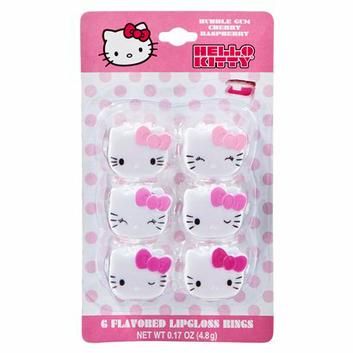 Hello Kitty Pink Lip Gloss Rings - 6 Pack