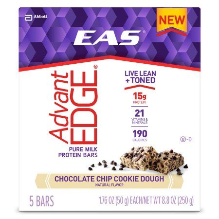 EAS AdvantEDGE Chocolate Chip Cookie Dough Protein Bars, 1.76 oz, 5 count, (Pack of 6)