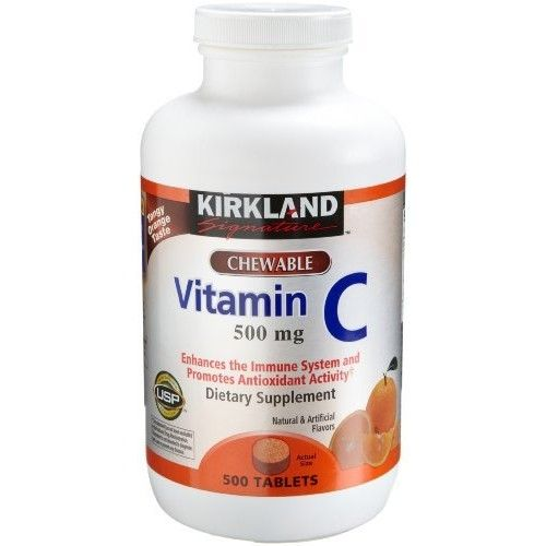 Kirkland Signature Kirkland Vitamin C (500 mg), 500-Count, Tangy Orange, Chewable Tablets
