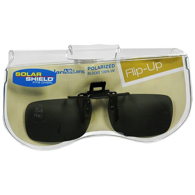 Solar Shield Fits Over Plastic Polarized 54 Rectangle Clip On Flip Up Sunglasses