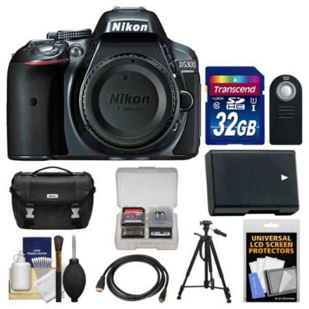 Nikon D5300 Digital SLR Camera Body (Grey) with 32GB Card + Case + Battery + Tripod Kit