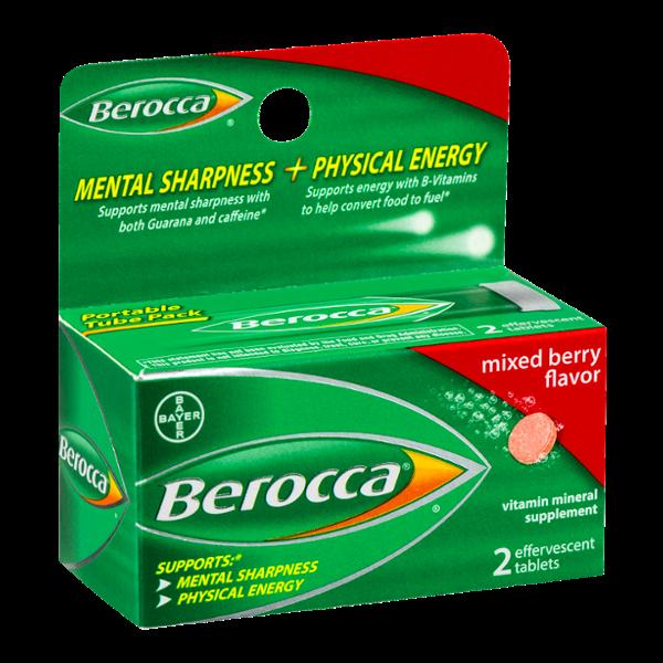 Berocca Vitamin Mineral Supplement Mixed Berry Flavor - 2 CT