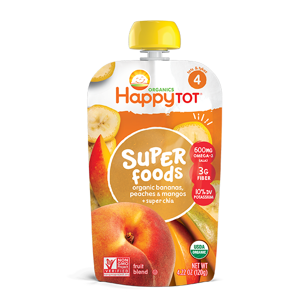 Happy Tot® Organics Superfoods Bananas, Peaches & Mangos + Super Chia Pouch
