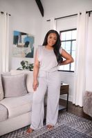 Fancy Homebody It's a Vibe Padded Shoulder Tee 2 Piece Set