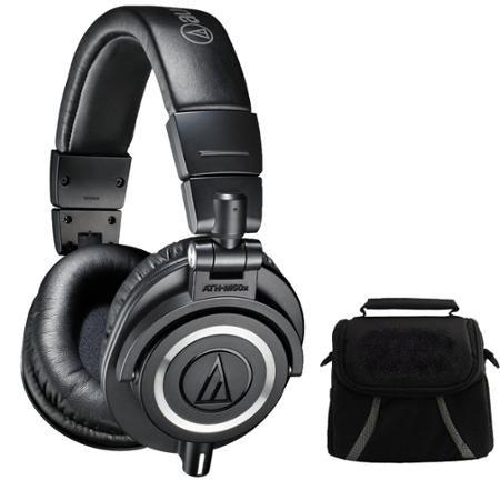 Audio-Technica ATH-M50X Professional Studio Headphones (Black) Deluxe Bundle