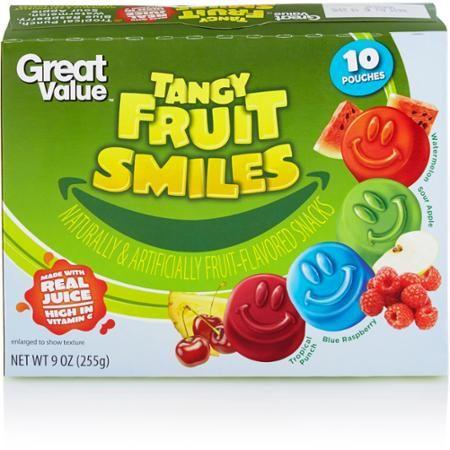 Great Value Tropical Punch/Blue Raspberry/Watermelon/Sour Apple Fruit Smiles, 9 oz