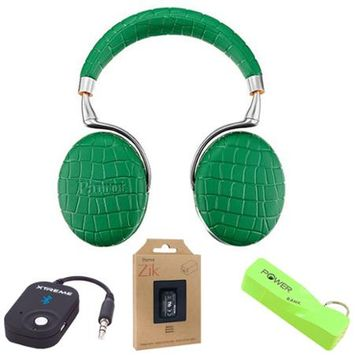 Parrot Zik 3 Wireless Noise Cancelling Bluetooth Headphones (Green Croc) Mobile Bundle