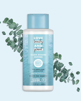 Love Beauty And Planet Marine Moisture Cleansing Shampoo Clean Oceans Edition Blue Green Algae & Eucalyptus Sulfate Free