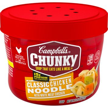 Campbell's® Chunky® Microwavable Soup, Classic Chicken Noodle Soup, 15.25 Ounce Bowl