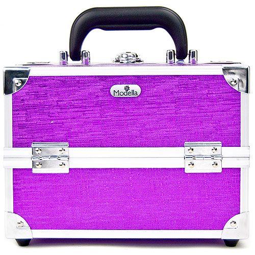 SOHO Modella Purple Crosshatch Four Drawer Beauty Case