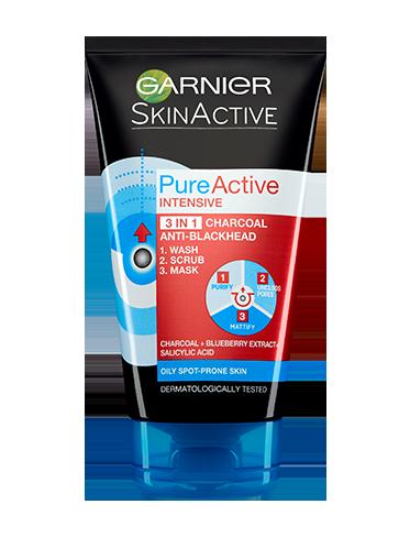 GARNIER Skin Active Pure Active Intensive 3 In 1 Charcoal Blackhead Mask Wash Scrub