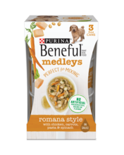 Beneful Medleys Romana Style Wet Dog Food with Real Chicken, Carrots, Pasta & Spinach