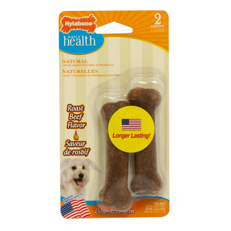 Nylabone Daily Health Chew Treats, Roast Beef Twin Pack