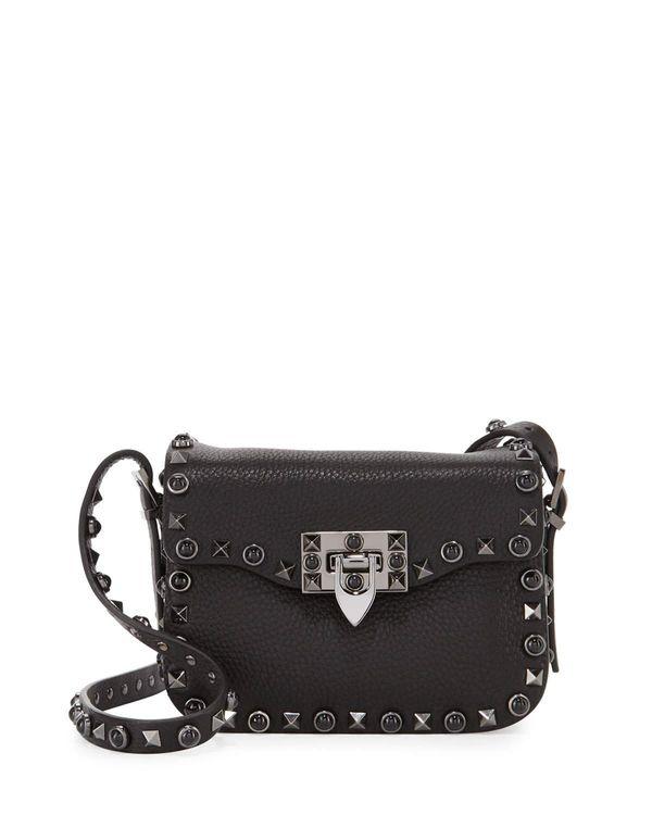 Valentino Rockstud Rolling Noir Medium Shoulder Bag, Black