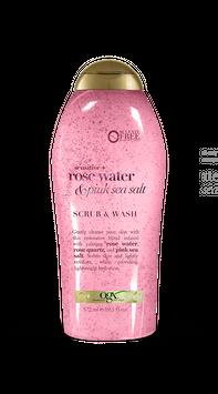 OGX Sensitive + Rose Water & Pink Sea Salt Scrub & Wash