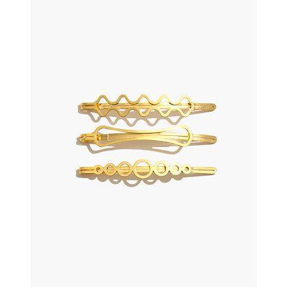 Madewell Three-Pack Metallic Shape Hair Pins