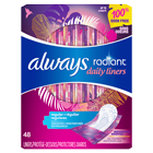Always Radiant Daily Liners, Regular, Wrapped
